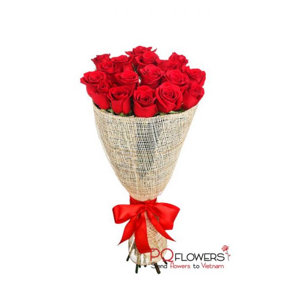 Dozen and a half Red Roses Bouquet 7184 - Send flowers to vietnam-210321