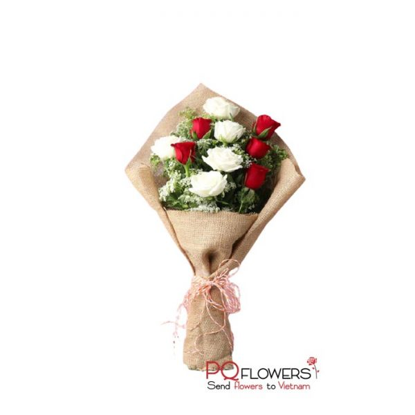 Feel love - White an Red Roses Bouquet 7428- send flowers to vietnam-240321