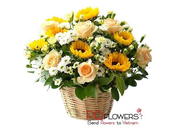 Happy morning - Sunflowers Basket 7439-send flowers to vietnam-250321