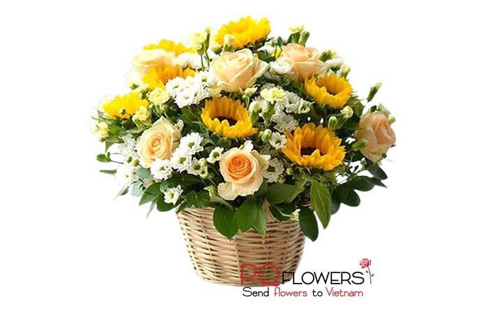 Happy morning - Sunflowers Basket 7439-send flowers to vietnam-250321
