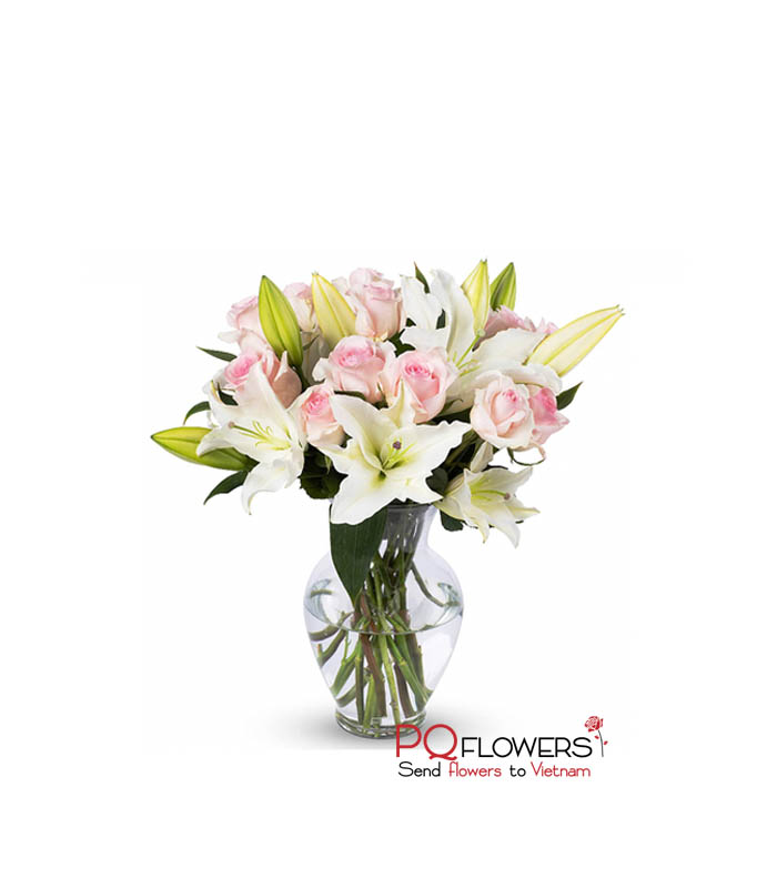 Passion -Pink Roses and Lilies 7210- Send-flowers-to-vietnam-210321