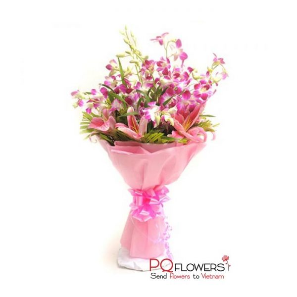 Pink Memorable - Orchids and Lilies Bouquet 7300-send-flowers-to-viet-nam-230321