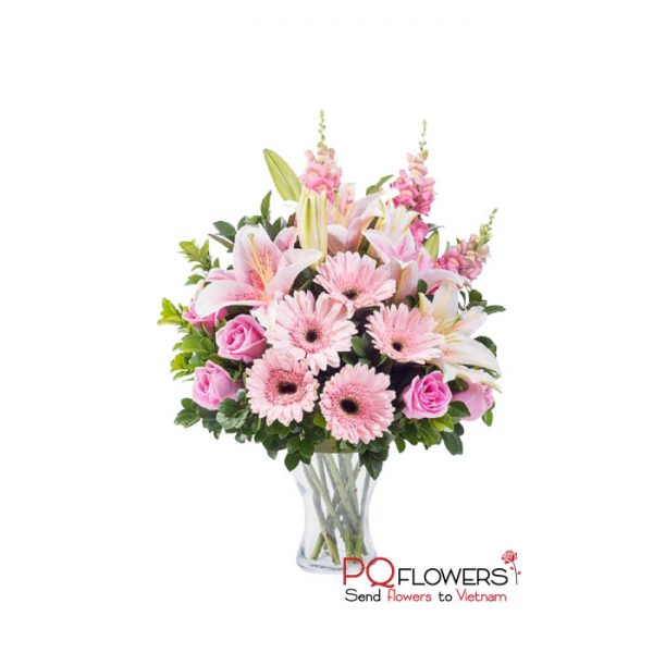 Pink moment - Gerberas and Lilies Vase 7245-send flowers to vietnam-220321