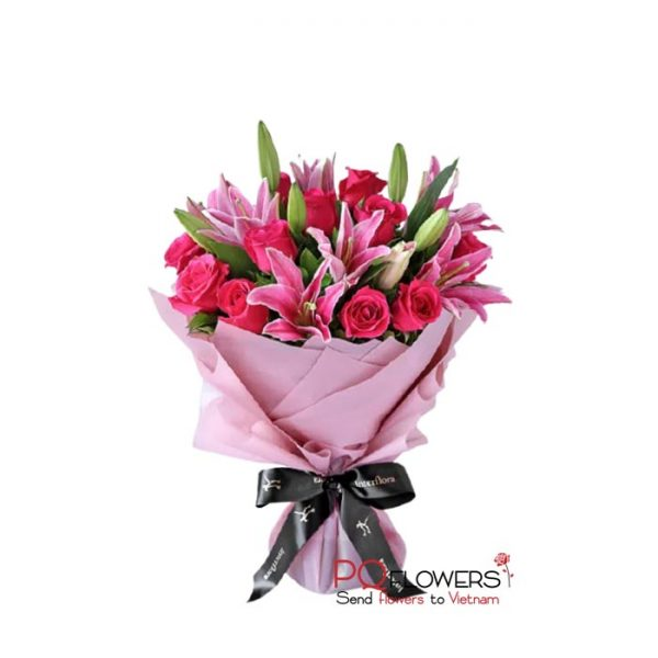 Radiant -Pink -Roses and Lilies 7436-send-flowers-to-vietnam-240321