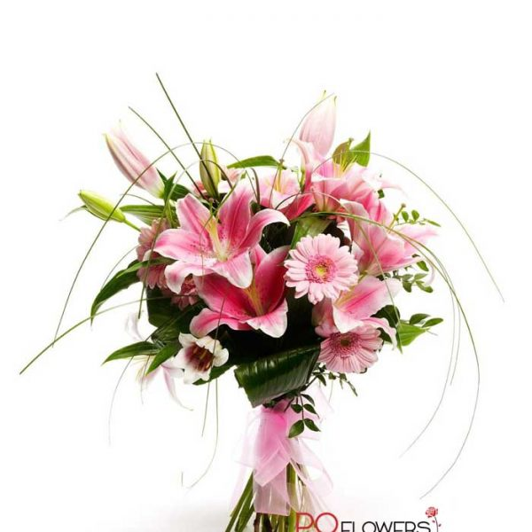 Sweet Birthday - Gerberas and Lilies Bouquet 7306 - send-flowers-to-vietnam-230321