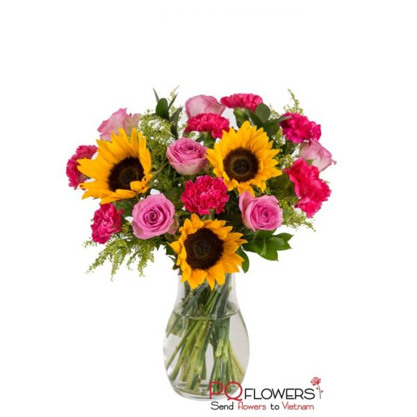 Happy Mom - Roses and sunflowers Vase 7670 -vietnam-020421