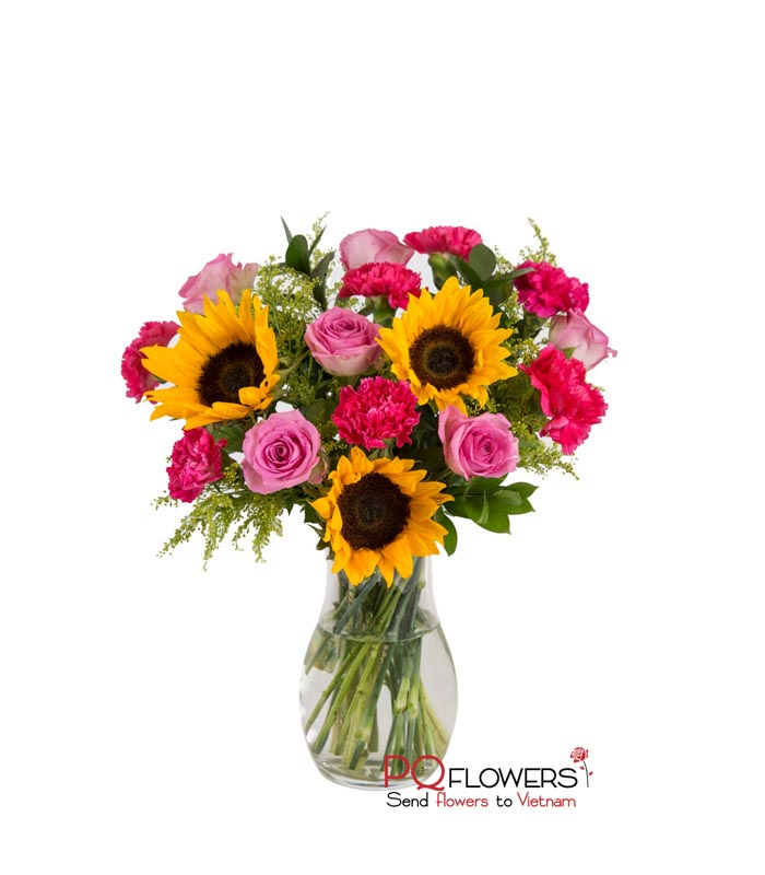 Happy Mom - Roses and sunflowers Vase 7670 -vietnam-020421