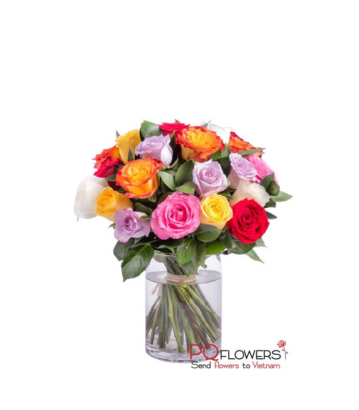 Rainbow sky - 20 Mix roses Vase 7663-vietnam-030421