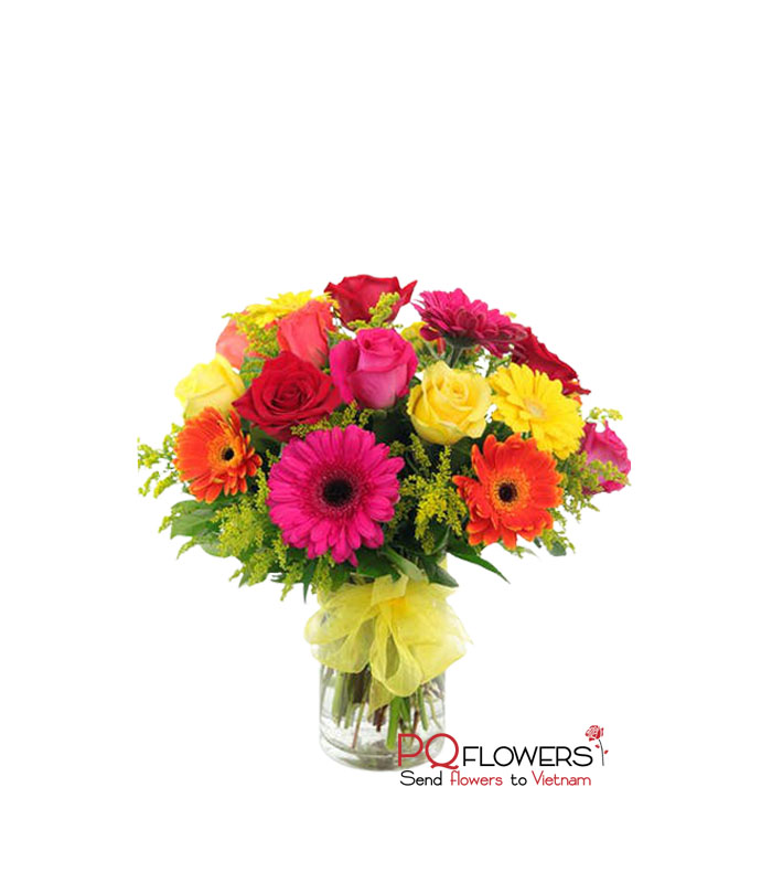 Sunny day- Gerberas and Roses Vase 7660-vietnam-020421